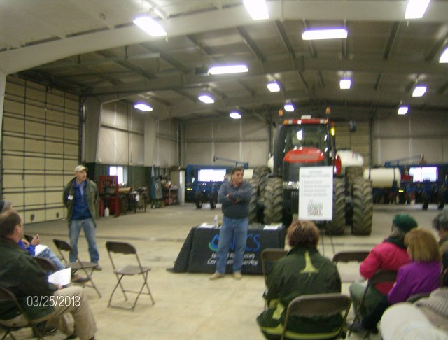 Kevin Engel welcomes the audience to his farm